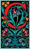 Bloemen decoratieve brief C in Kleur Stock Afbeelding