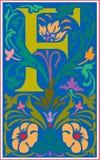 Bloemen decoratieve brief F in Kleur Stock Foto