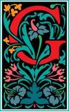 Bloemen decoratieve brief G in Kleur Stock Foto