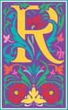 Bloemen decoratieve brief R in Kleur Stock Afbeeldingen