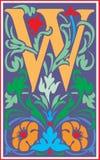 Bloemen decoratieve brief W in Kleur Stock Afbeelding