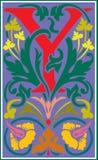 Bloemen decoratieve brief Y in Kleur Stock Fotografie