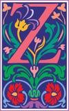 Bloemen decoratieve brief Z in Kleur Stock Fotografie