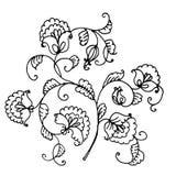 Bloemen decoratieve slinger van de illustratie van de bloemeninkt royalty-vrije illustratie