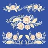 Bloemen in decoratieve stijl Achtergrond Stock Afbeelding