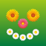 Bloemen die Gelukkige Gezichtspret glimlachen Stock Afbeelding
