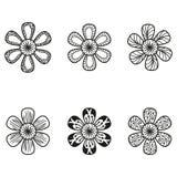 Bloemen doodling die bloemen in tatoegeringsstijl worden geplaatst Royalty-vrije Stock Fotografie