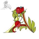 Bloemen doopvont. Brief A Stock Foto