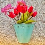 Bloemen in een mand tegen de muur Royalty-vrije Stock Foto's