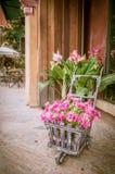 Bloemen in een oude kar royalty-vrije stock afbeelding