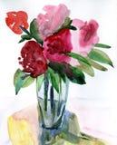 Bloemen in een vaas Stock Afbeeldingen