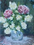 Bloemen in een vaasolieverfschilderij Stock Afbeelding