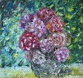 Bloemen in een vaasolieverfschilderij stock illustratie