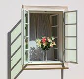 Bloemen in een venster Stock Foto's
