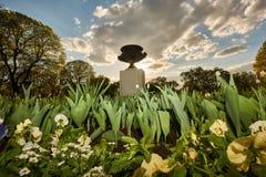 Bloemen en beeldhouwwerken in het stadspark bij zonsondergang stock afbeeldingen