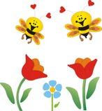Bloemen en bijen Royalty-vrije Stock Foto