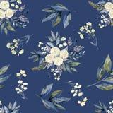 Bloemen en blad naadloos patroon, blauwe achtergrond royalty-vrije stock afbeelding