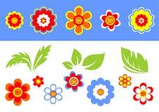 Bloemen en bladeren vector illustratie