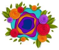 Bloemen en bladeren mooi ontwerp, vectorillustratie in pape vector illustratie