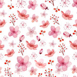 Bloemen en bladerenpatroon Royalty-vrije Stock Foto's