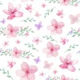 Bloemen en bladerenpatroon Stock Afbeeldingen