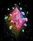 Bloemen en Crystal Background Design vector illustratie