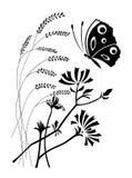 Bloemen en de vlinder royalty-vrije illustratie