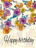 Bloemen en de woorden gelukkige verjaardag Stock Afbeelding