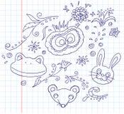 Bloemen en dierlijke krabbels Stock Afbeeldingen