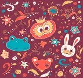 Bloemen en dierlijke krabbels Stock Afbeelding