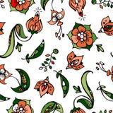 Bloemen en erwt-steenkool hand getrokken naadloos patroon Stock Illustratie
