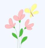 Bloemen en gele vlinder Royalty-vrije Stock Afbeelding