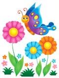 Bloemen en gelukkig vlinderthema 1 Royalty-vrije Stock Fotografie