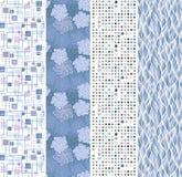 Bloemen en geometrische naadloze banners Stock Afbeelding