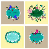 Bloemen en geplaatste vogelskaders Stock Afbeeldingen