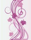 Bloemen en golven. Stock Afbeelding
