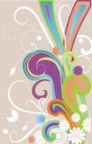 Bloemen en golven. Royalty-vrije Stock Afbeelding