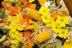 Bloemen en graanboeket Stock Afbeelding
