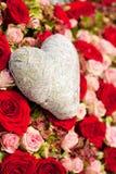 Bloemen en hart Stock Foto
