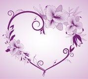 Bloemen en hart op achtergrond Royalty-vrije Stock Afbeelding