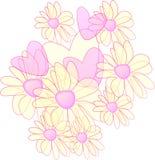 Bloemen en harten Stock Foto's