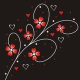 Bloemen en harten royalty-vrije illustratie
