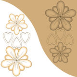 Bloemen en harten met achtergrond-contrast Stock Foto
