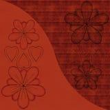 Bloemen en harten met achtergrondpatroon Stock Afbeelding