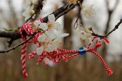 Bloemen en lint van geheugen Stock Afbeelding