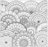 Bloemen en mandalaslijnkunst voor het kleuren van boek voor volwassene, kaarten, en andere decoratie Stock Afbeelding
