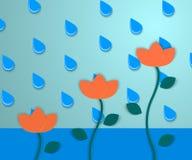 Bloemen en regen 2 Vector Illustratie