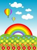 Bloemen en regenboog Royalty-vrije Stock Foto's