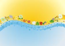 Bloemen en Sneeuwvlokken royalty-vrije illustratie