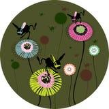 Bloemen en springmuizen Royalty-vrije Stock Afbeeldingen